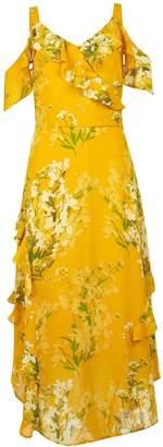 4487c5f26318 Dorothy Perkins Womens Yellow Floral Print Cold Shoulder Maxi Dress