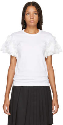 Comme des Garcons White Ruffled Sleeve T-Shirt