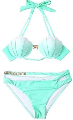 9cd0a83147793 Missley Women Gradient Mermaid Bikini Sets Seashell Padded Swimsuit