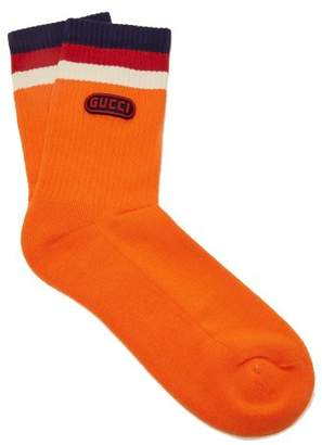 Gucci Logo Embellished Striped Ankle Socks - Mens - Orange