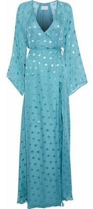 Mason by Michelle Mason Split-front Fil Coupe Silk-blend Maxi Wrap Dress