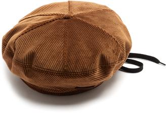 Drawstring corduroy beret
