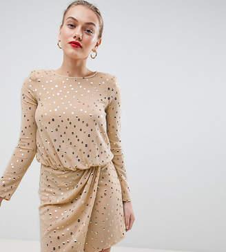 Flounce London Petite sequin mini dress with shoulder pads