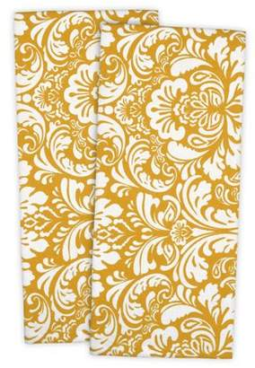 """DII Cotton Damask Kitchen Dish Towels, 28 x 18"""" Set of 2, Low Lint Decorative Tea Towel for Everyday Cooking and Baking-Mustard"""