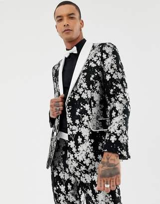 Asos EDITION slim tuxedo suit jacket in monochrome floral jacquard