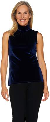 Susan Graver Stretch Velvet Sleeveless Turtleneck Top