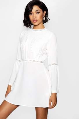 boohoo Lace Insert Bohemian Skater Dress