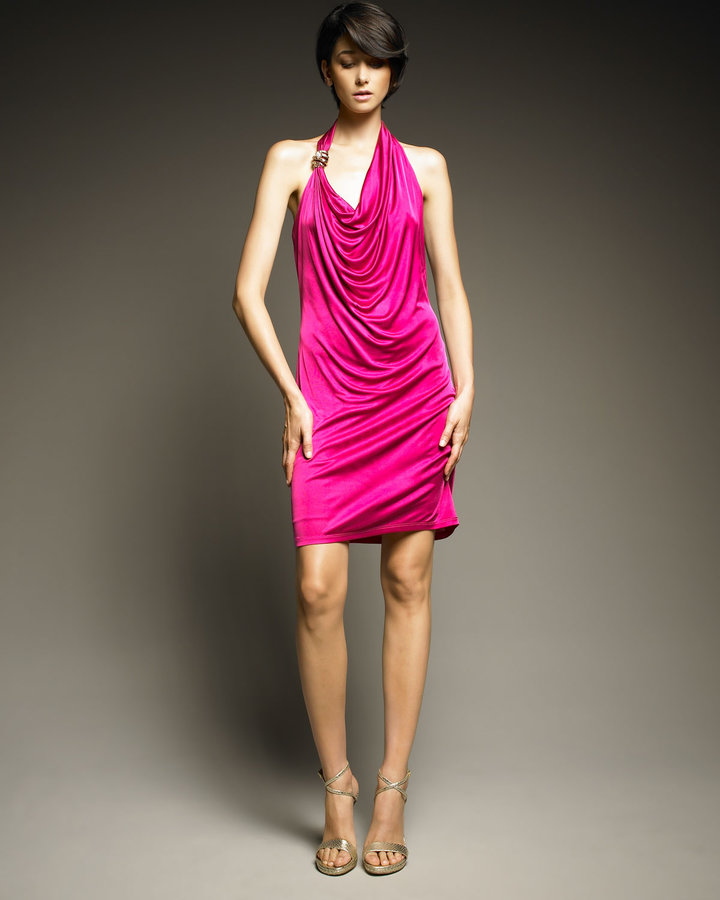Roberto Cavalli Draped Halter Dress