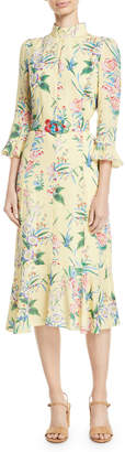 Andrew Gn 3/4-Sleeve A-Line Floral-Print Silk Midi Dress