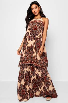 boohoo Lace Up Back Bohemian Print Maxi Dress
