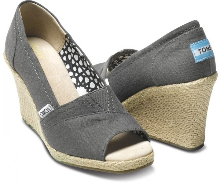Toms Ash calypso canvas women's wedges