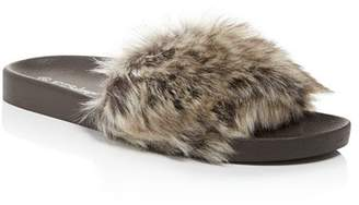 PJ Salvage Faux Fur Molded Slide Slippers