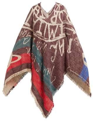 Vivienne Westwood Slogan Jacquard Woven Cotton Poncho - Womens - Burgundy Multi