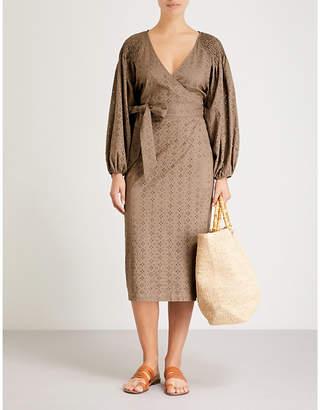 Marysia Swim Pink Sands cotton-broderie anglaise wrap dress