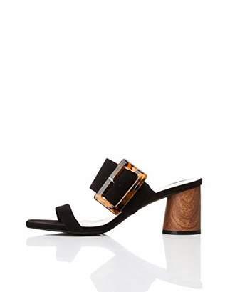 Amazon Brand - find. Women's Large Buckle Block Heel Sandal Black)