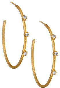 Yossi Harari Jane 24k Diamond Hoop Earrings