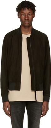 Tiger of Sweden Jeans Black Suede Burn Bomber Jacket $750 thestylecure.com