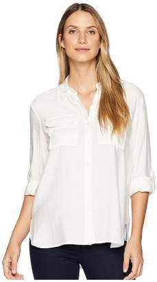 Vince Camuto Long Sleeve Flowy Rumple Relaxed Utility Shirt Women's Clothing