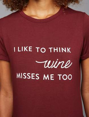 A Pea in the Pod Wine Misses Me Cuff Sleeve Maternity Tee