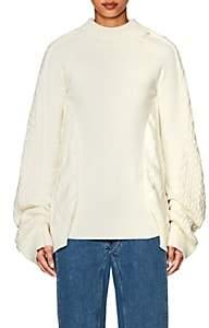 Y/Project Women's Oversized Mixed-Stitch Fisherman Sweater - White