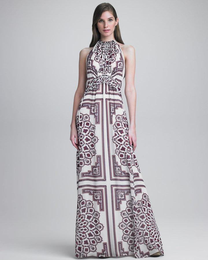 Derek Lam Paisley-Print Halter Gown