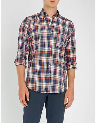 Drakes Checked slim-fit cotton shirt