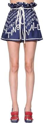 Valentino Logo Printed Silk Twill Shorts