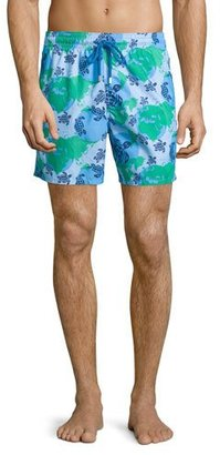 Vilebrequin Moorea Globe & Turtle Printed Swim Trunks, Light Blue $250 thestylecure.com