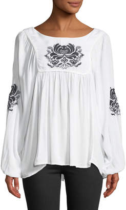 Chelsea & Theodore Embroidered Scoop-Neck Blouse