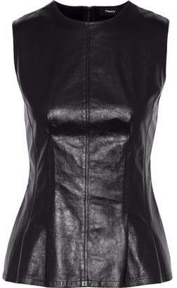 Theory Stretch Knit-Paneled Leather Top