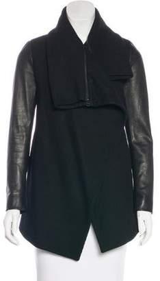 AllSaints Leather-Trimmed Open Front Jacket