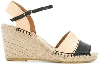 Emporio Armani woven wedge logo sandals