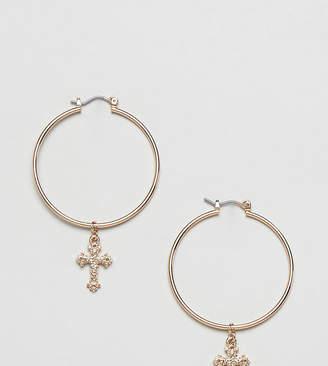 Missguided cross drop down hoop earrings in gold