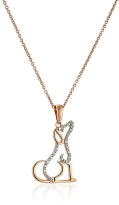 14K Rose Gold over Sterling Silver Diamond Accent Dog Pendant Necklace