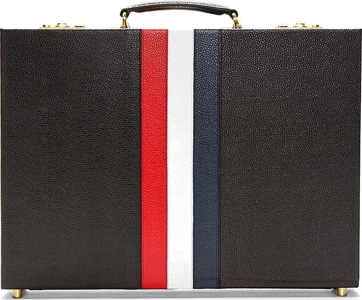 Thom Browne Black Pebbled Leather Stripe Briefcase