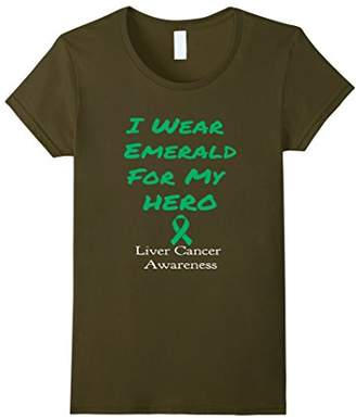 Women's Liver Cancer Awareness| I wear emerald for my hero Small