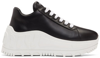 Miu Miu Black Leather Wedge Sneaker