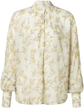 Ya-Ya Flower Print Blouse with Wide Sleeves & Cuffs - Bone White & Primrose Yellow - 36 - Natural/White/Yellow