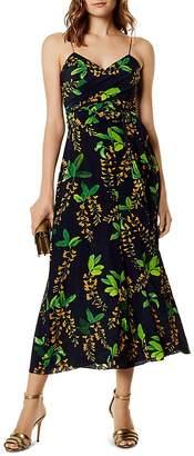 Karen Millen Botanical Wide-Leg Silk Jumpsuit
