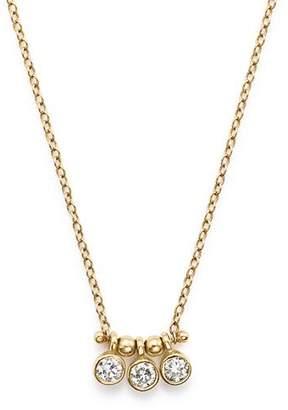 "Chicco Zoë 14K Yellow Gold and Diamond Bezel-Set 3 Necklace, 16"""