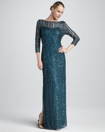 Kay Unger New York Sequined Lace Gown