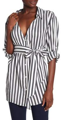 Alice + Olivia Tate Striped Belted Button Down Shirt