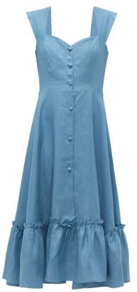 Gioia Bini Camilla Ruffle Trimmed Linen Dress - Womens - Blue