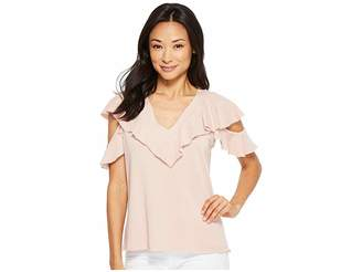 Lanston Cold Shoulder Ruffle Tee Women's T Shirt
