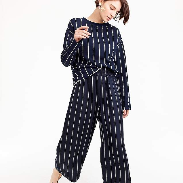 Cropped silk pull-on pant in pinstripe