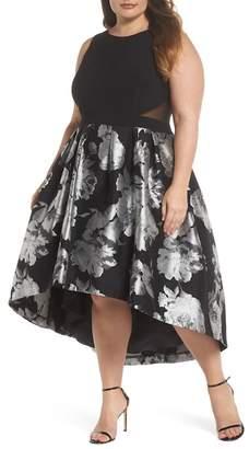 Xscape Evenings Brocade High\u002FLow Dress (Plus Size)
