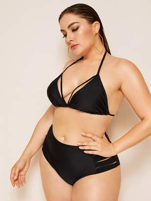Shein Plus Harness Top With Cut Out Bikini Set