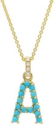 Jennifer Meyer Turquoise Cabochon Initial Necklace