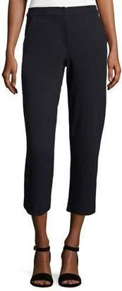 Armani Collezioni Straight-Leg Cropped Pants, Midnight $545 thestylecure.com