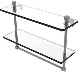 Allied Brass Foxtrot Collection 16 Inch Two Tiered Glass Shelf with Integrated Towel Bar